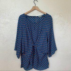 Chenault woman's blue floral blouse size 3X